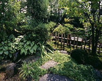 工場敷地内にある庭園